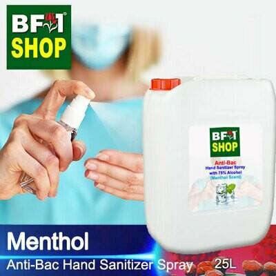 Anti-Bac Hand Sanitizer Spray with 75% Alcohol (ABHSS) - Menthol - 25L