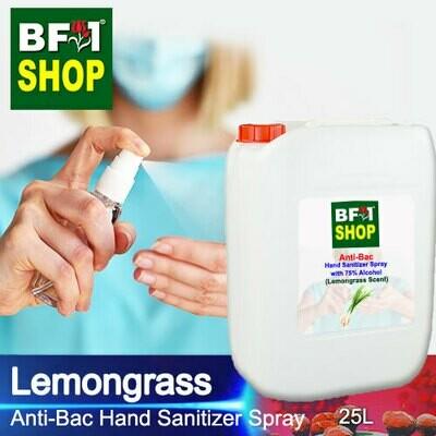 Anti-Bac Hand Sanitizer Spray with 75% Alcohol (ABHSS) - Lemongrass - 25L