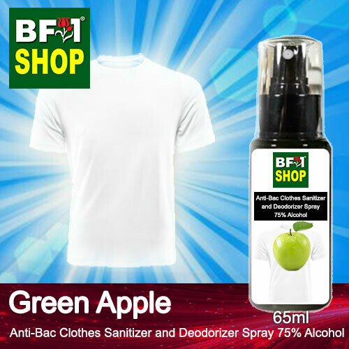 Anti-Bac Clothes Sanitizer and Deodorizer Spray (ABCSD) - 75% Alcohol with Apple - Green Apple - 65ml