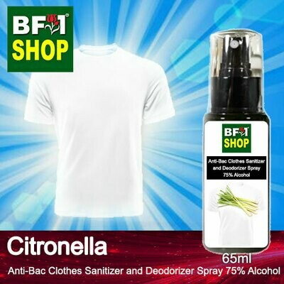 Anti-Bac Clothes Sanitizer and Deodorizer Spray (ABCSD) - 75% Alcohol with Citronella - 65ml