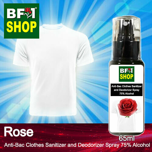 Anti-Bac Clothes Sanitizer and Deodorizer Spray (ABCSD) - 75% Alcohol with Rose - 65ml