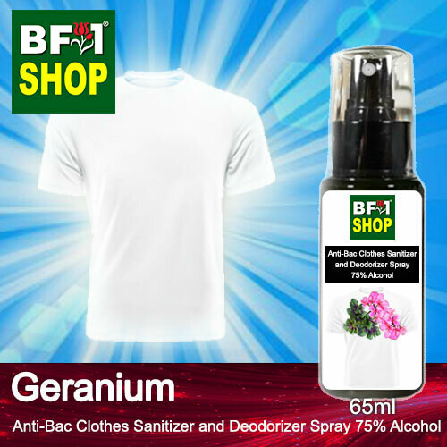Anti-Bac Clothes Sanitizer and Deodorizer Spray (ABCSD) - 75% Alcohol with Geranium - 65ml