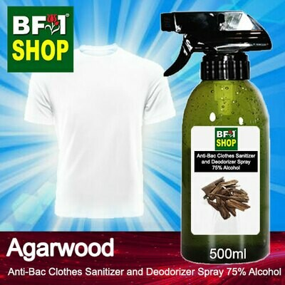 Anti-Bac Clothes Sanitizer and Deodorizer Spray (ABCSD) - 75% Alcohol with Agarwood - 500ml
