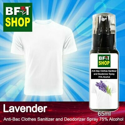 Anti-Bac Clothes Sanitizer and Deodorizer Spray (ABCSD) - 75% Alcohol with Lavender - 65ml