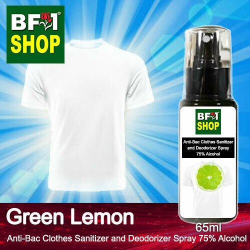 Anti-Bac Clothes Sanitizer and Deodorizer Spray (ABCSD) - 75% Alcohol with Lemon - Green Lemon - 65ml