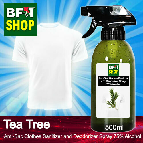 Anti-Bac Clothes Sanitizer and Deodorizer Spray (ABCSD) - 75% Alcohol with Tea Tree - 500ml