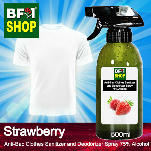 Anti-Bac Clothes Sanitizer and Deodorizer Spray (ABCSD) - 75% Alcohol with Strawberry - 500ml