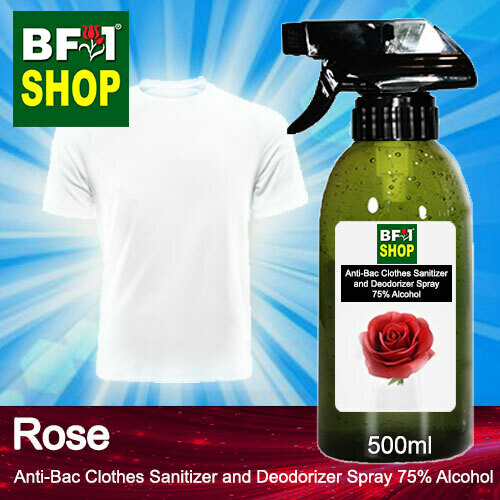 Anti-Bac Clothes Sanitizer and Deodorizer Spray (ABCSD) - 75% Alcohol with Rose - 500ml