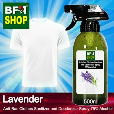 Anti-Bac Clothes Sanitizer and Deodorizer Spray (ABCSD) - 75% Alcohol with Lavender - 500ml