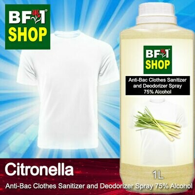 Anti-Bac Clothes Sanitizer and Deodorizer Spray (ABCSD) - 75% Alcohol with Citronella - 1L