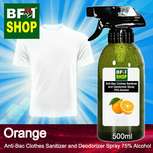 Anti-Bac Clothes Sanitizer and Deodorizer Spray (ABCSD) - 75% Alcohol with Orange - 500ml