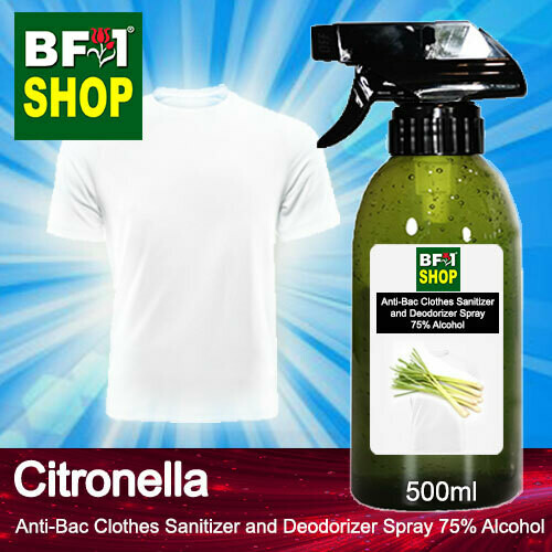 Anti-Bac Clothes Sanitizer and Deodorizer Spray (ABCSD) - 75% Alcohol with Citronella - 500ml