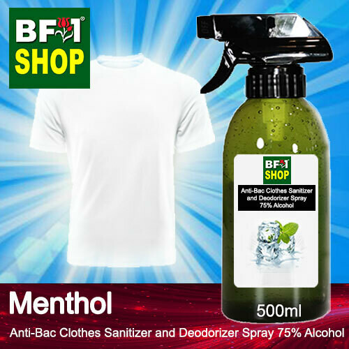 Anti-Bac Clothes Sanitizer and Deodorizer Spray (ABCSD) - 75% Alcohol with Menthol - 500ml