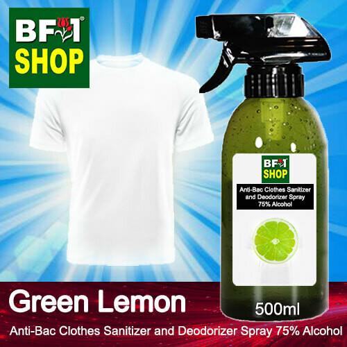 Anti-Bac Clothes Sanitizer and Deodorizer Spray (ABCSD) - 75% Alcohol with Lemon - Green Lemon - 500ml