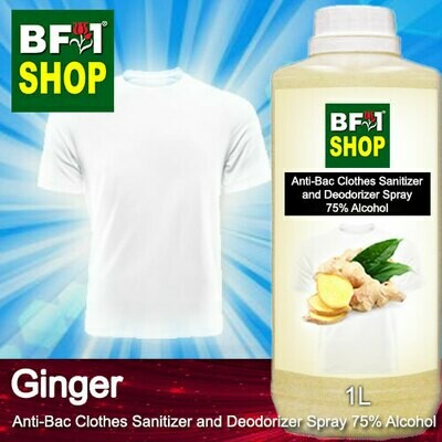 Anti-Bac Clothes Sanitizer and Deodorizer Spray (ABCSD) - 75% Alcohol with Ginger - 1L