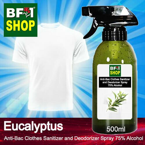 Anti-Bac Clothes Sanitizer and Deodorizer Spray (ABCSD) - 75% Alcohol with Eucalyptus - 500ml