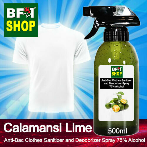 Anti-Bac Clothes Sanitizer and Deodorizer Spray (ABCSD) - 75% Alcohol with lime - Calamansi Lime - 500ml