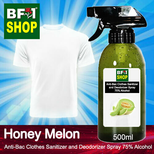 Anti-Bac Clothes Sanitizer and Deodorizer Spray (ABCSD) - 75% Alcohol with Honey Melon - 500ml