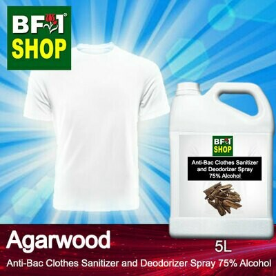 Anti-Bac Clothes Sanitizer and Deodorizer Spray (ABCSD) - 75% Alcohol with Agarwood - 5L