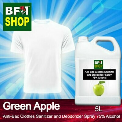 Anti-Bac Clothes Sanitizer and Deodorizer Spray (ABCSD) - 75% Alcohol with Apple - Green Apple - 5L