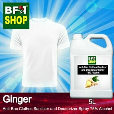 Anti-Bac Clothes Sanitizer and Deodorizer Spray (ABCSD) - 75% Alcohol with Ginger - 5L