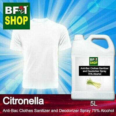 Anti-Bac Clothes Sanitizer and Deodorizer Spray (ABCSD) - 75% Alcohol with Citronella - 5L