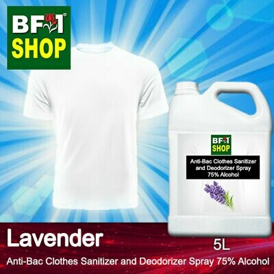 Anti-Bac Clothes Sanitizer and Deodorizer Spray (ABCSD) - 75% Alcohol with Lavender - 5L
