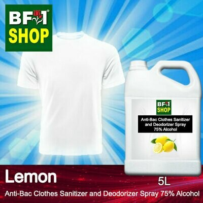 Anti-Bac Clothes Sanitizer and Deodorizer Spray (ABCSD) - 75% Alcohol with Lemon - 5L