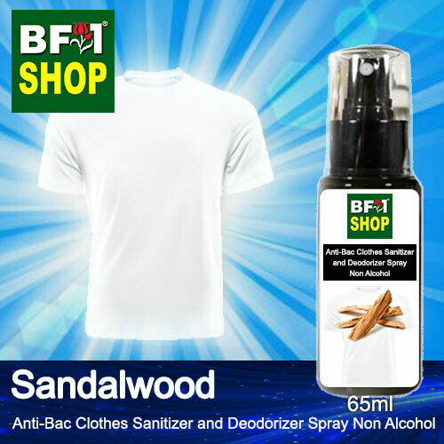 Anti-Bac Clothes Sanitizer and Deodorizer Spray (ABCSD) - Non Alcohol with Sandalwood - 65ml