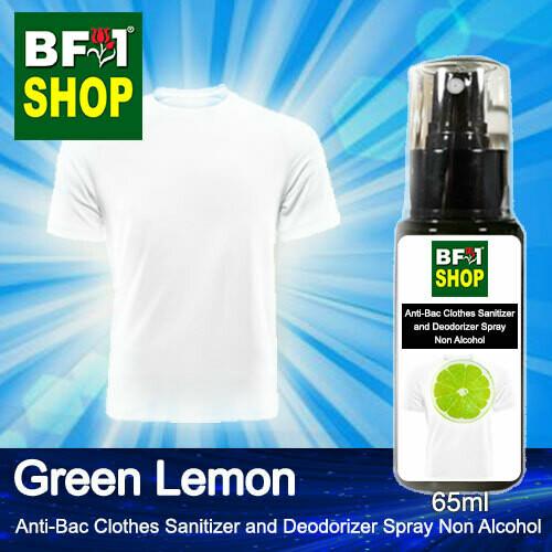 Anti-Bac Clothes Sanitizer and Deodorizer Spray (ABCSD) - Non Alcohol with Lemon - Green Lemon - 65ml