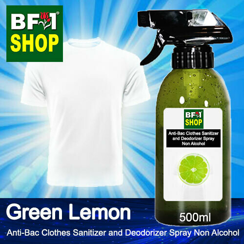 Anti-Bac Clothes Sanitizer and Deodorizer Spray (ABCSD) - Non Alcohol with Lemon - Green Lemon - 500ml