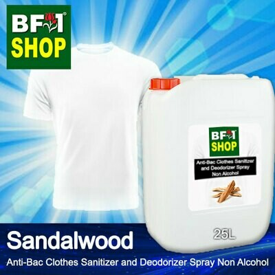 Anti-Bac Clothes Sanitizer and Deodorizer Spray (ABCSD) - Non Alcohol with Sandalwood - 25L