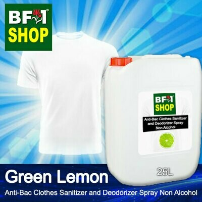 Anti-Bac Clothes Sanitizer and Deodorizer Spray (ABCSD) - Non Alcohol with Lemon - Green Lemon - 25L