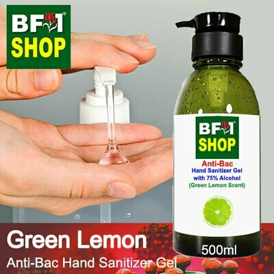 Anti-Bac Hand Sanitizer Gel with 75% Alcohol (ABHSG) - Lemon - Green Lemon - 500ml