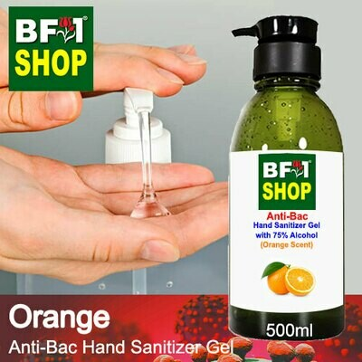 Anti-Bac Hand Sanitizer Gel with 75% Alcohol (ABHSG) - Orange - 500ml