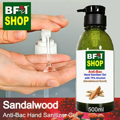 Anti-Bac Hand Sanitizer Gel with 75% Alcohol (ABHSG) - Sandalwood - 500ml