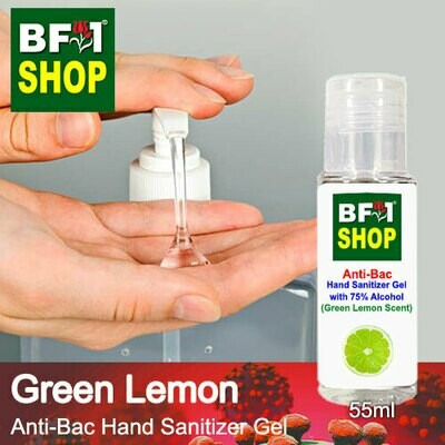 Anti-Bac Hand Sanitizer Gel with 75% Alcohol (ABHSG) - Lemon - Green Lemon - 55ml