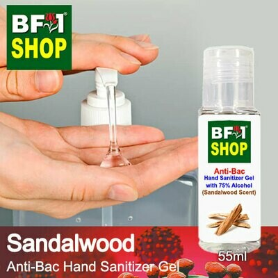 Anti-Bac Hand Sanitizer Gel with 75% Alcohol (ABHSG) - Sandalwood - 55ml