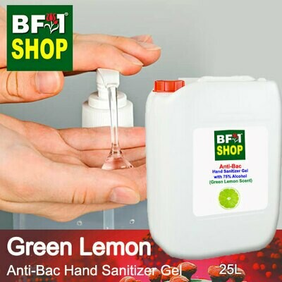 Anti-Bac Hand Sanitizer Gel with 75% Alcohol (ABHSG) - Lemon - Green Lemon - 25L