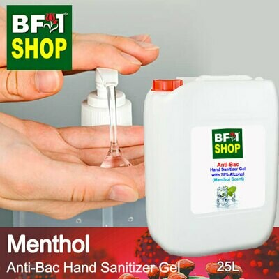 Anti-Bac Hand Sanitizer Gel with 75% Alcohol (ABHSG) - Menthol - 25L