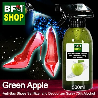 Anti-Bac Shoes Sanitizer and Deodorizer Spray (ABSSD) - 75% Alcohol with Apple - Green Apple - 500ml