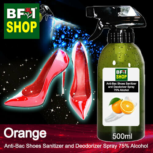 Anti-Bac Shoes Sanitizer and Deodorizer Spray (ABSSD) - 75% Alcohol with Orange - 500ml