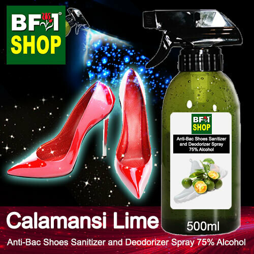 Anti-Bac Shoes Sanitizer and Deodorizer Spray (ABSSD) - 75% Alcohol with lime - Calamansi Lime - 500ml