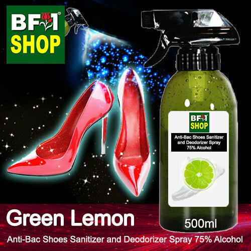 Anti-Bac Shoes Sanitizer and Deodorizer Spray (ABSSD) - 75% Alcohol with Lemon - Green Lemon - 500ml
