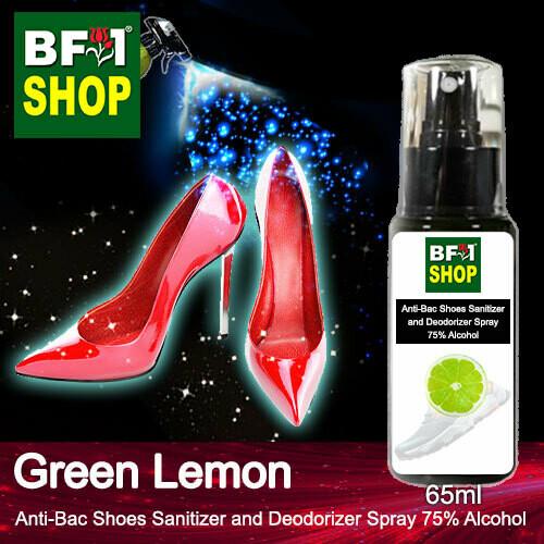 Anti-Bac Shoes Sanitizer and Deodorizer Spray (ABSSD) - 75% Alcohol with Lemon - Green Lemon - 65ml