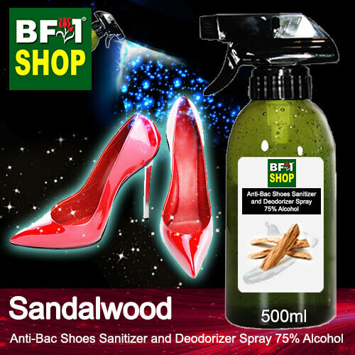 Anti-Bac Shoes Sanitizer and Deodorizer Spray (ABSSD) - 75% Alcohol with Sandalwood - 500ml