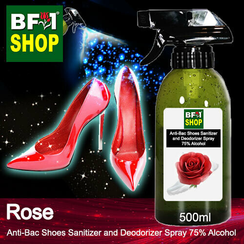 Anti-Bac Shoes Sanitizer and Deodorizer Spray (ABSSD) - 75% Alcohol with Rose - 500ml
