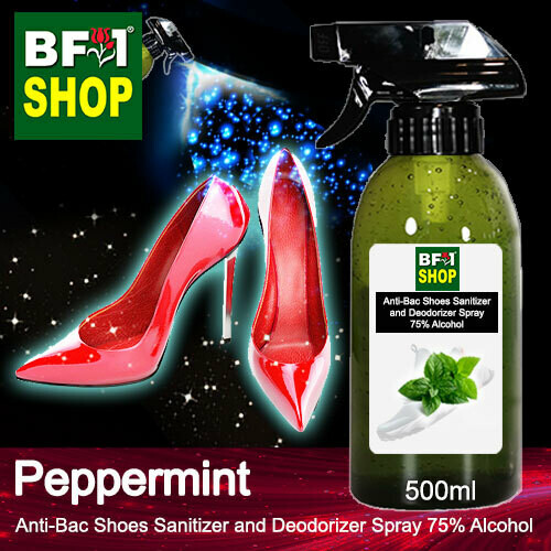Anti-Bac Shoes Sanitizer and Deodorizer Spray (ABSSD) - 75% Alcohol with mint - Peppermint - 500ml