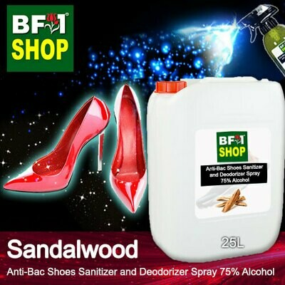 Anti-Bac Shoes Sanitizer and Deodorizer Spray (ABSSD) - 75% Alcohol with Sandalwood - 25L