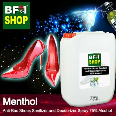 Anti-Bac Shoes Sanitizer and Deodorizer Spray (ABSSD) - 75% Alcohol with Menthol - 25L